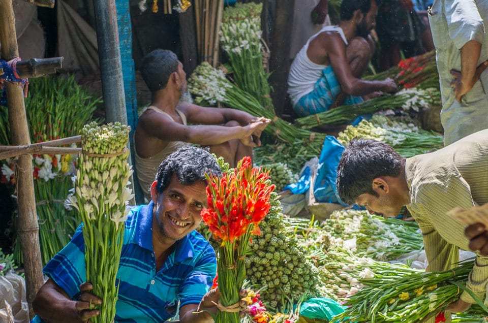 Calcutta flowers market.